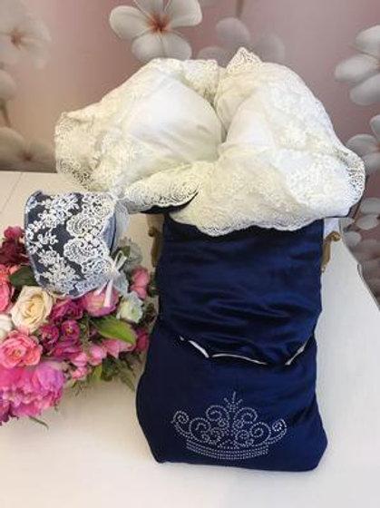 """Конверт-одеяло на выписку на молнии  """"Герцог"""" (темно-синий с молочн кружевом)"""