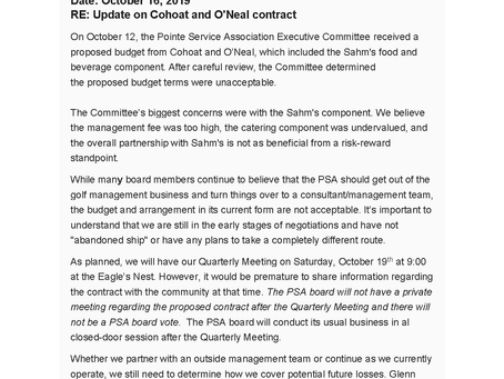 PSA Update on Cohoat and O'Neal Contract