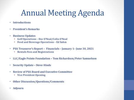2021 Annual Meeting Agenda/PSA Board Agenda