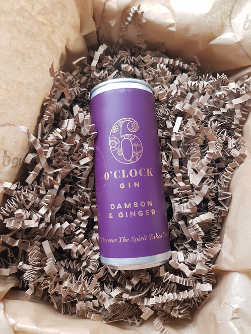 6 O'clock Gin Damson and Ginger Gin in a can 250ml 5%