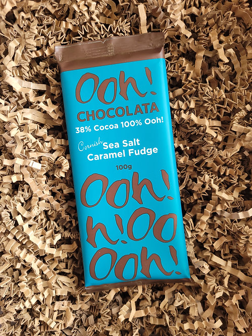 Ooh Chocolata Sea Salt Caramel Fudge Chocolate Bar 100g