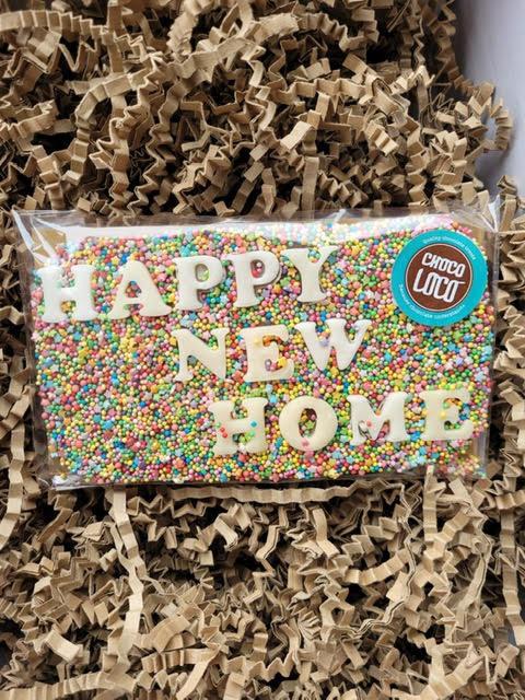Choco Loco HAPPY NEW HOME Milk Chocolate Slab 130g Approx