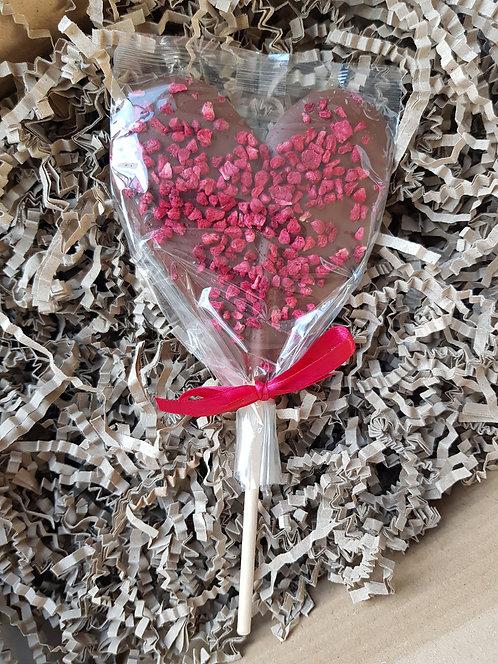 Zara's Chocolates Milk Chocolate and Raspberry Heart Lolly