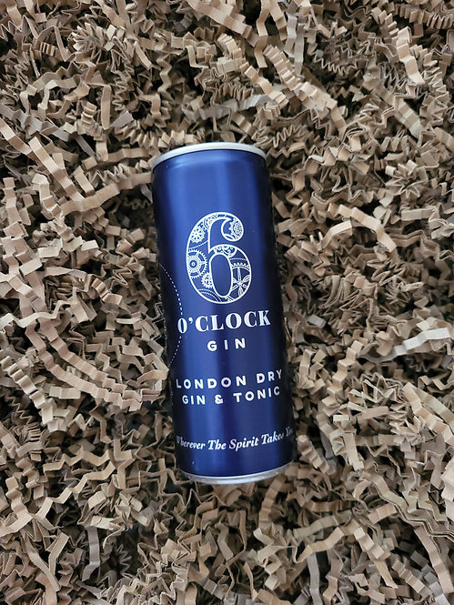 6 O'clock Gin London Dry Gin and Tonic in a can 250ml
