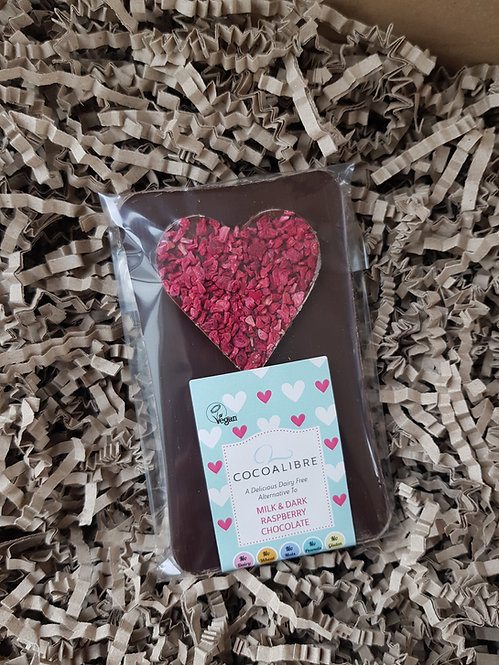 CocoaLibre Milk and Dark Raspberry Chocolate Slab 100g
