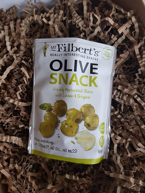 Mr Filberts Olive Snack Pack Marinated Olives with Lemon and Oregano 65g