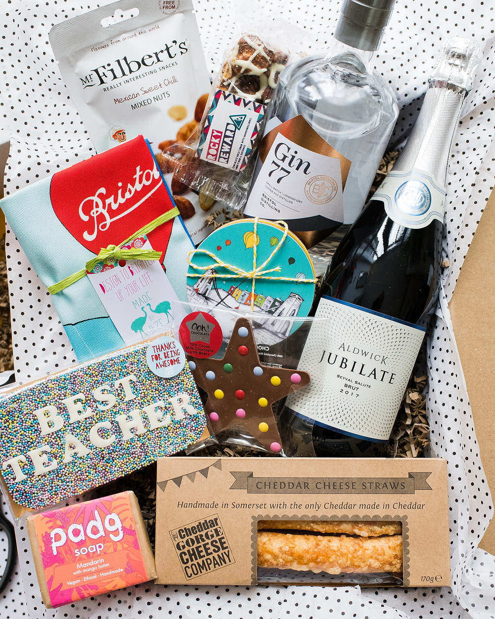 Bristol Hamper - Teacher's Gift Box - Gin, Alcohol, Chocolate, Savoury Snacks and Gifts to Keep