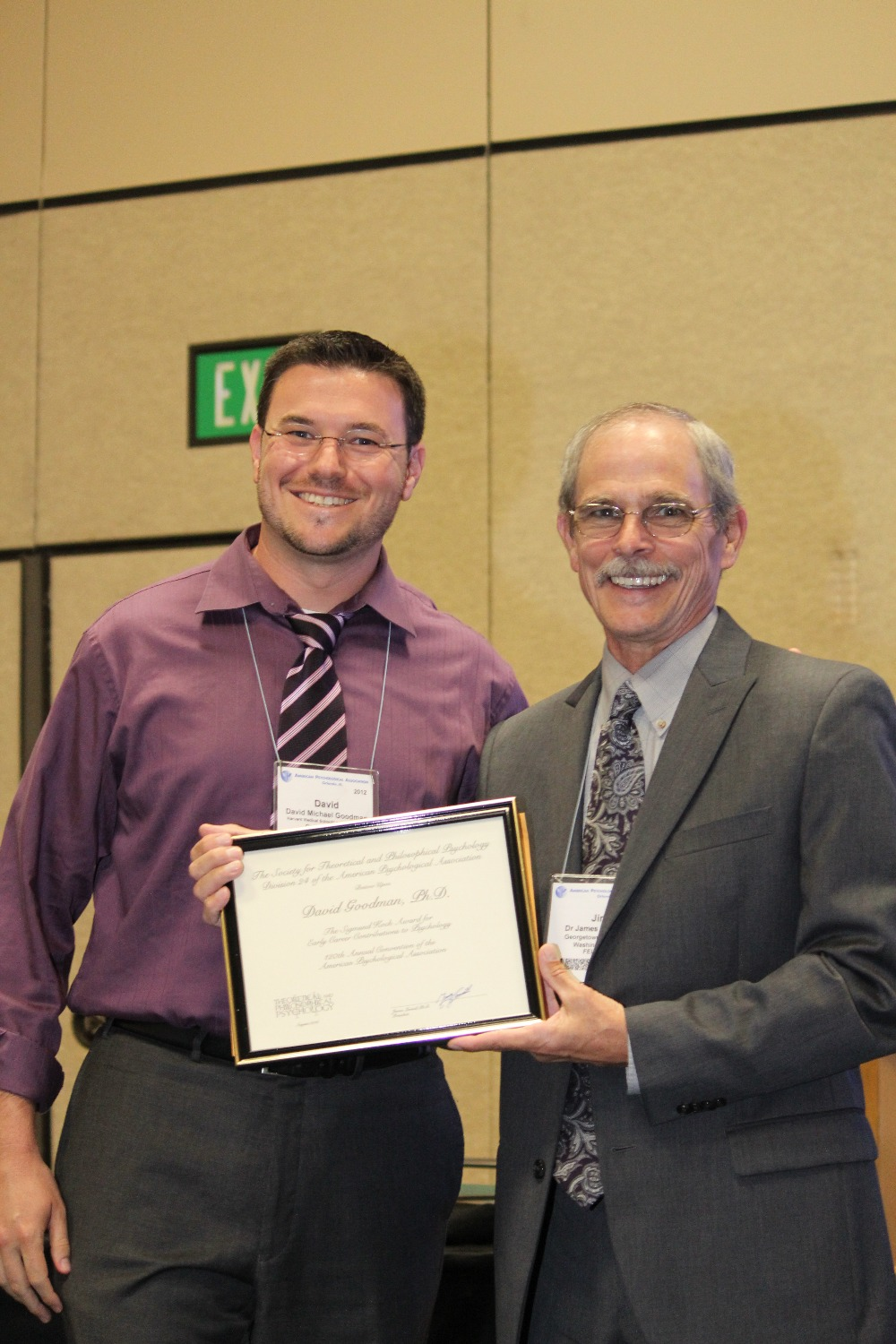 David Goodman receives the Sigmund Koch Award for Early Career Contribution to Psychology Aug 4 2012