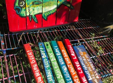Magnificent Mahi Mahi Painted on a Fish Crate