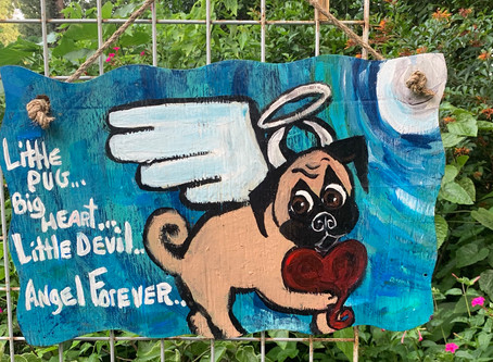 Pugs with Wings? I Do A Pug Angel Pug Devil Holding a Heart Under The Full Moon...