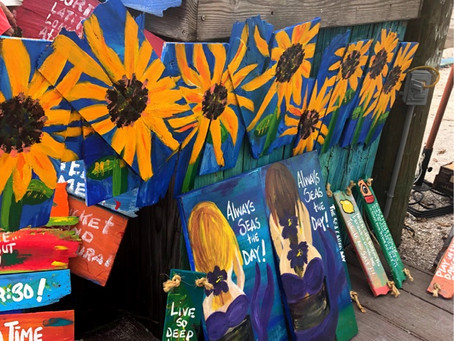 For Sale: 5' Horizontal Sun Flower Painting