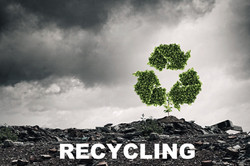Conceptual image with recycle green sign growing on ruins_edited