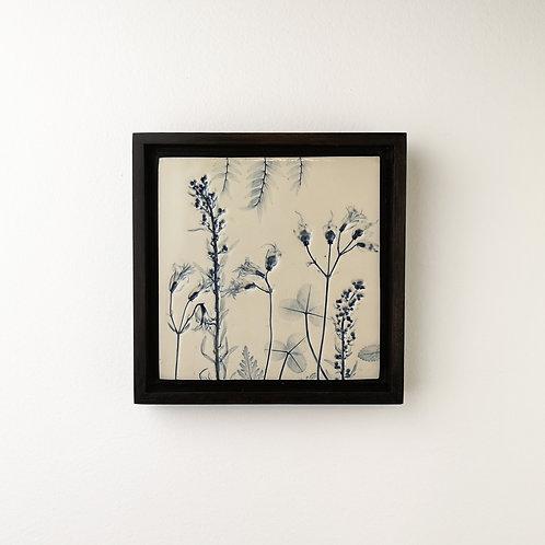 Small framed botanical art tile in blue