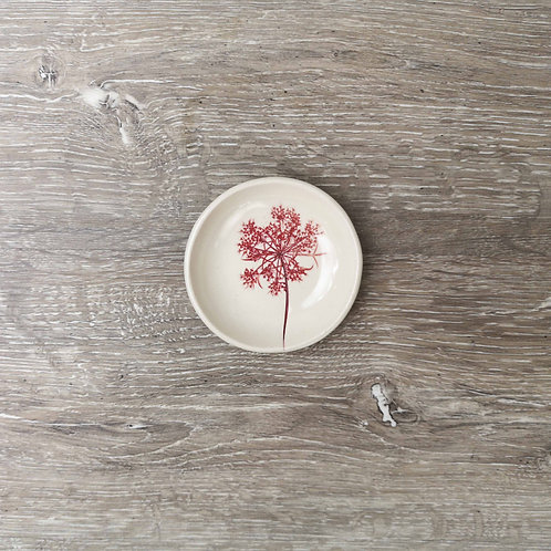 Tiny porcelain ring dish with Queen Ann's lace flower print