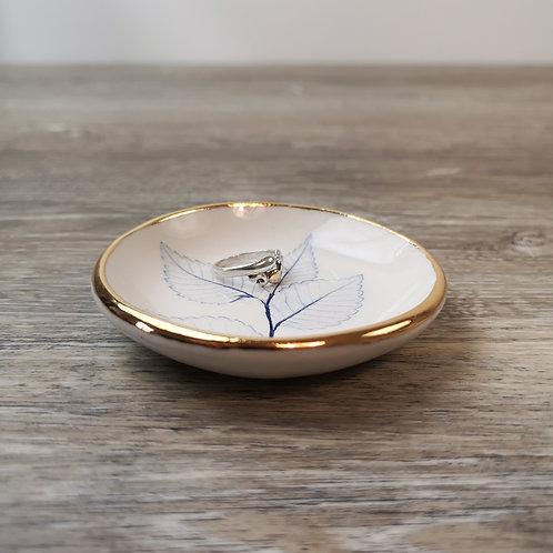 Mini bol à bijoux avec impression de feuille et détail en or