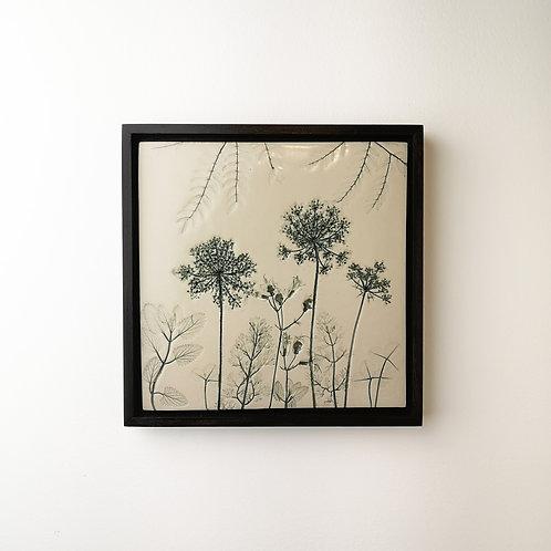 Tuile de porcelaine encadrée avec impressions botaniques en vert