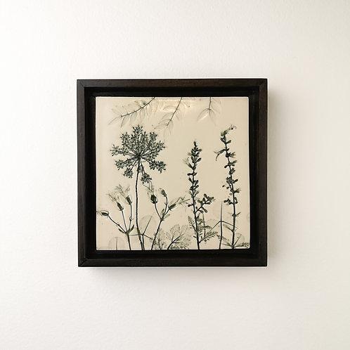 Small framed botanical art tile in green