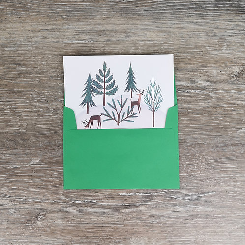 Holiday themed personalized note card in bright green envelope