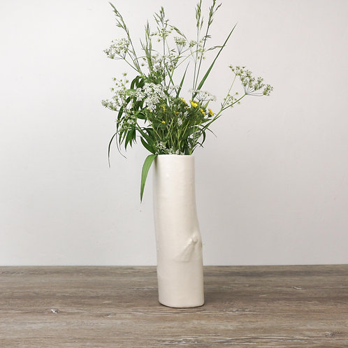 Tall vase with birch texture