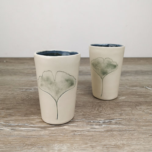 Small porcelain tumbler with Ginkgo leaf imprint