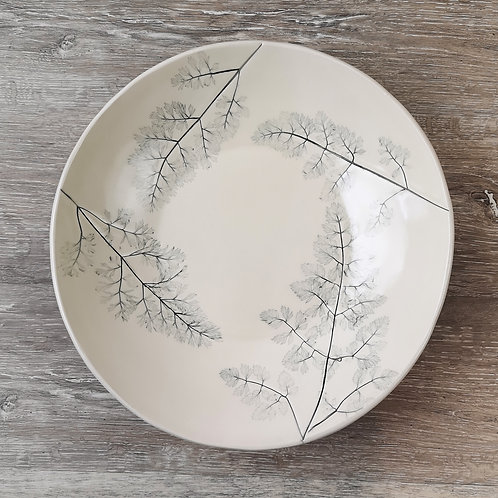 Large porcelain fruit bowl with imprint of Queen Ann's Lace leaf