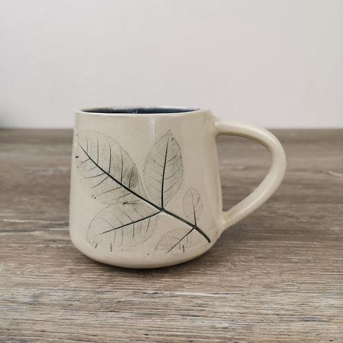 Porcelain mug with Ash leaf print