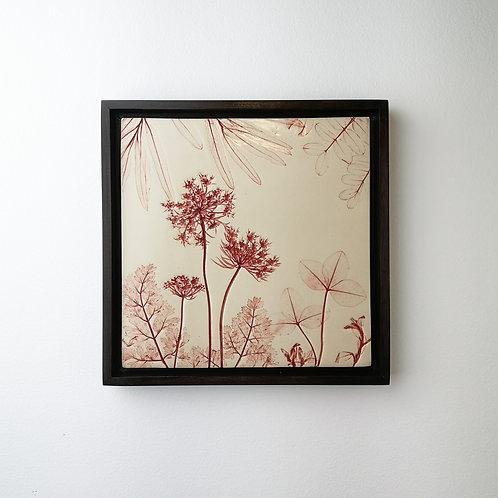 Framed botanical art tile in red