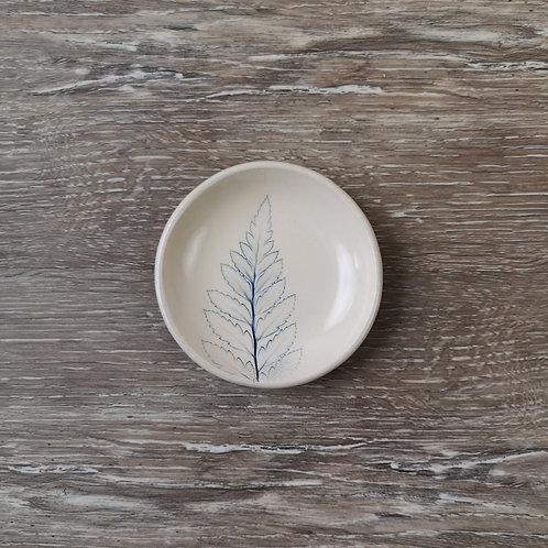 Tiny porcelain ring dish with Leatherleaf fern imprint