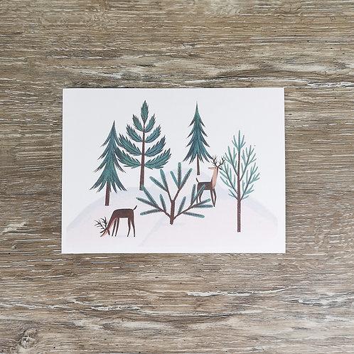 Carte de note personnalisée à thématique hivernale dans une enveloppe verte