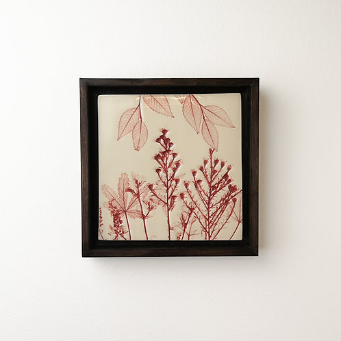 Small framed botanical art tile in red