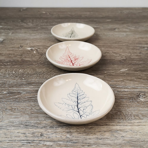 Porcelain ring dish with Leatherleaf fern imprint