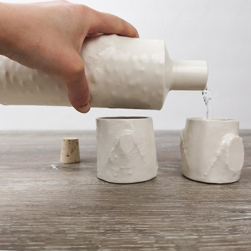 Porcelain water bottle with birch branch texture