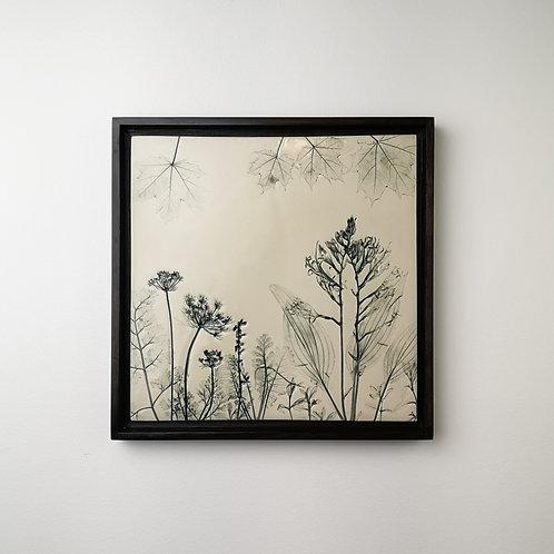 Large framed botanical art tile in green