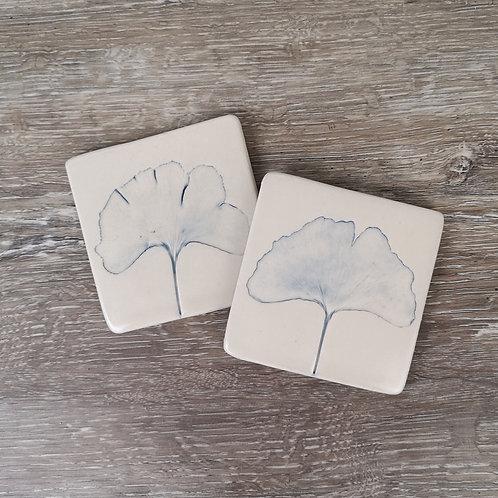 Porcelain coasters with Ginkgo Biloba print