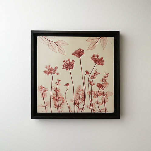 Framed botanical art tile in red