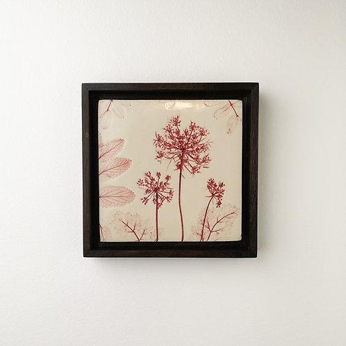 Small framed botanical art tile in red