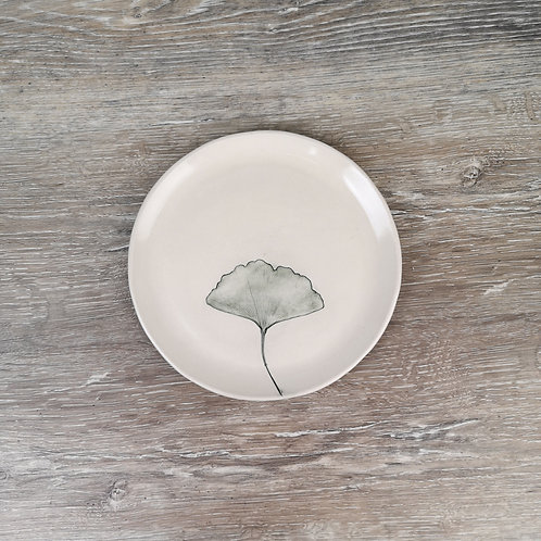 Porcelain appetizer or dessert plate with Ginkgo leaf print