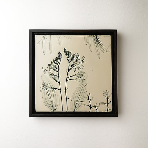 Framed botanical art tile in green