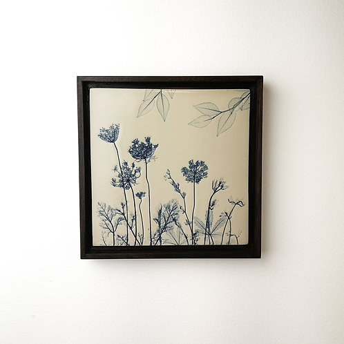 Framed botanical art tile in blue