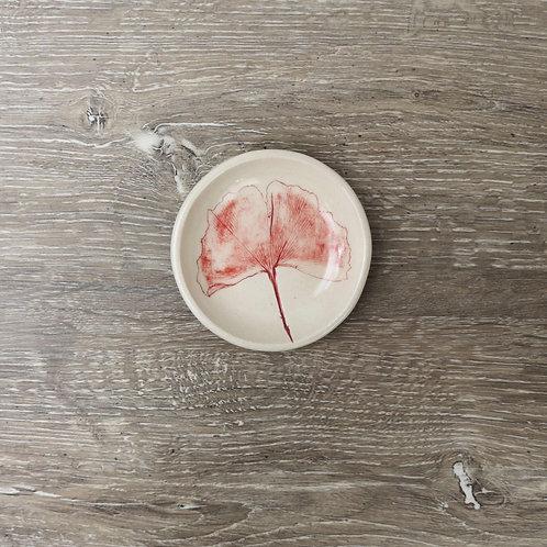 Petit bol en porcelaine avec impression de feuille de Ginkgo Biloba