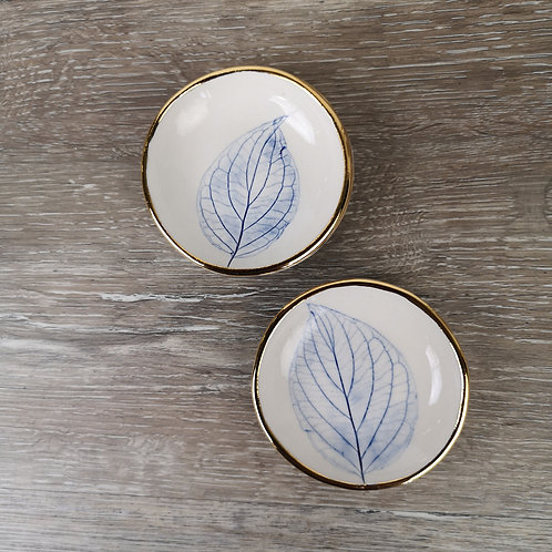 Tiny porcelain ring dish with leaf print and gold detail