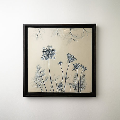 Large framed botanical art tile in blue
