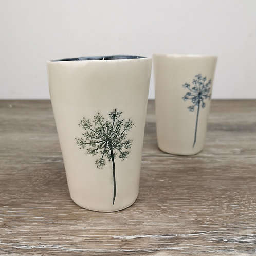 Small porcelain tumbler with Queen Ann's lace imprint