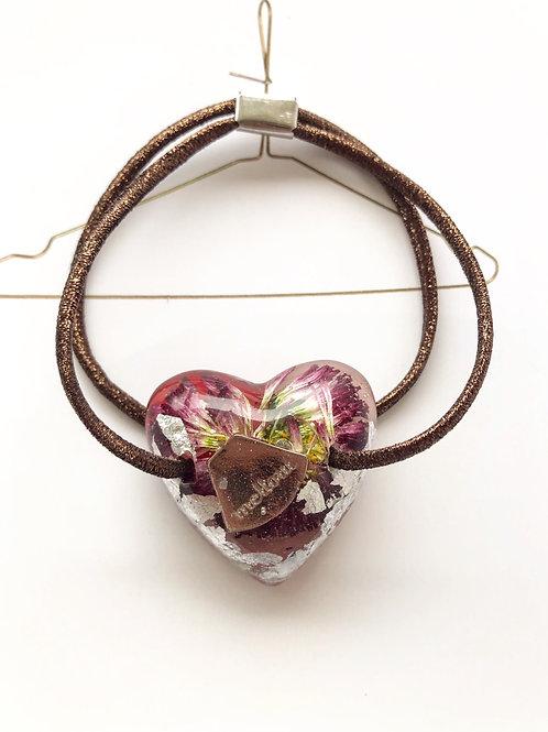 umber heart hair tie