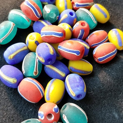 Pick a color! Striped oval beads, 10 pack