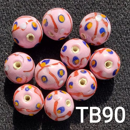 Pink Venetian Pineapple Bead (10 Pack)