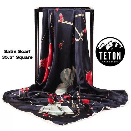 Berry Floral Satin Dance Scarf