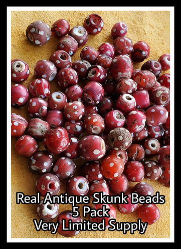 Antique red skunk beads, 5 Pack