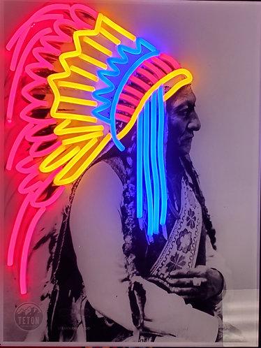 Sitting Bull Neon Sign by Steven Paul Judd