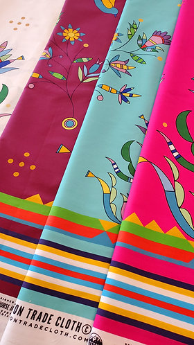 Cotton and Satin Fabric designed by Cole Redhorse Jacobson for Teton Trade Cloth